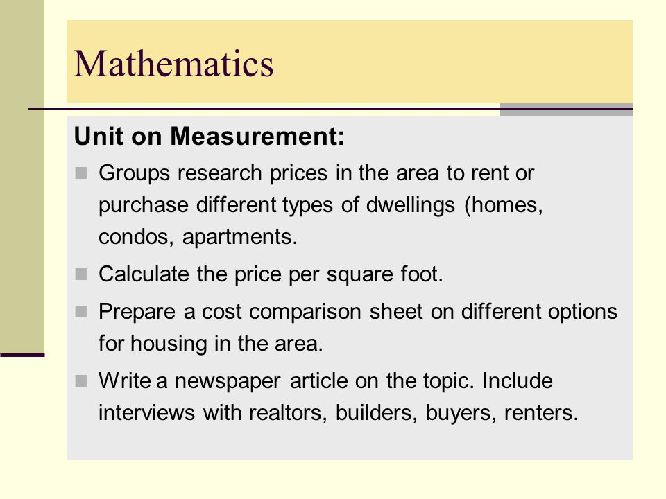 Mathematics Unit on Measurement: