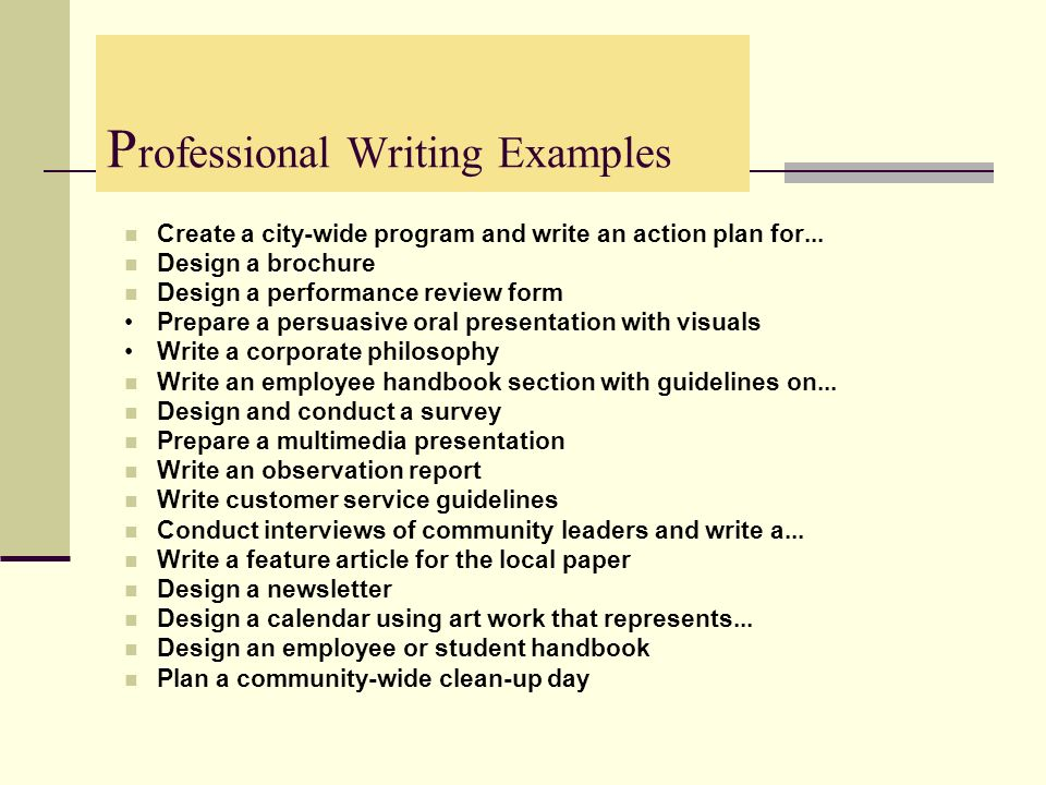 Professional Writing Examples