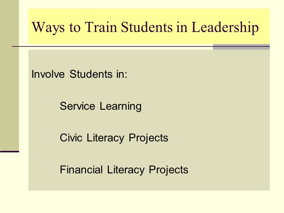 Ways to Train Students in Leadership