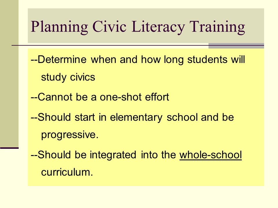 Planning Civic Literacy Training