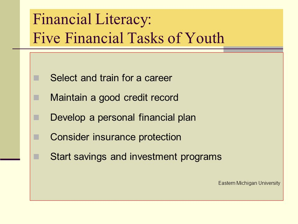 Financial Literacy: Five Financial Tasks of Youth