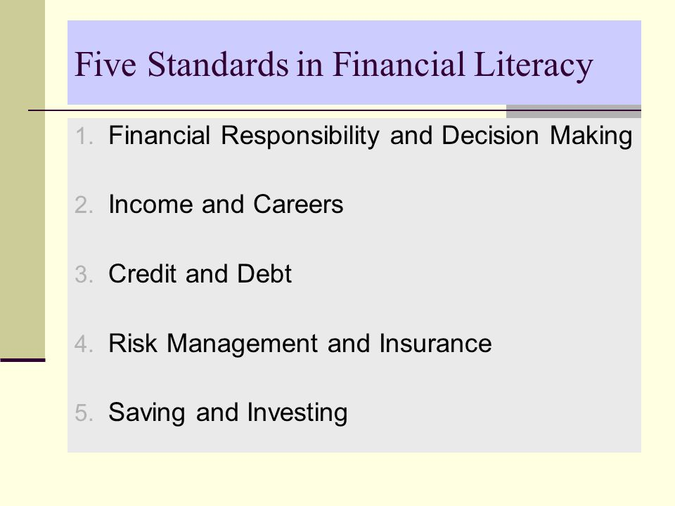 Five Standards in Financial Literacy