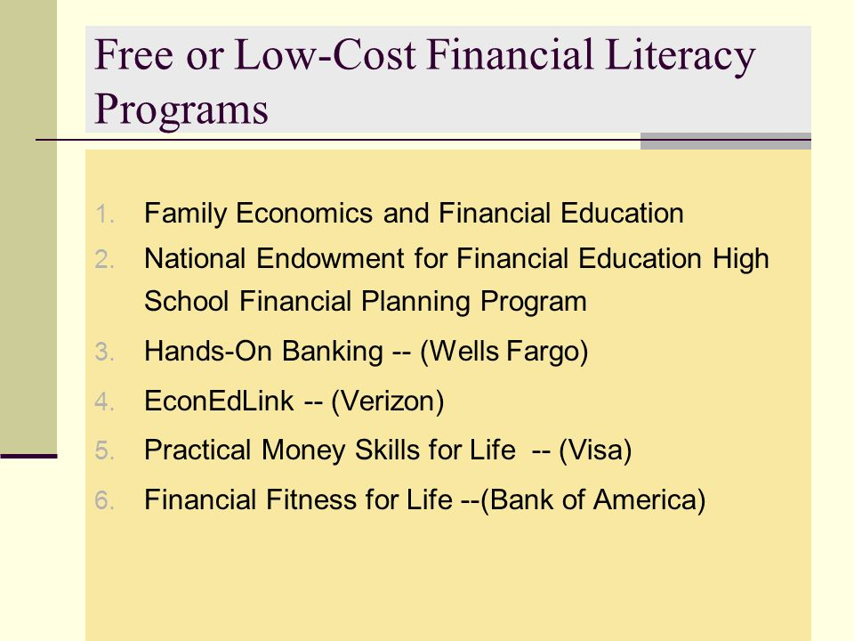 Free or Low-Cost Financial Literacy Programs