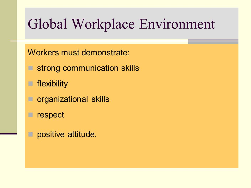 Global Workplace Environment