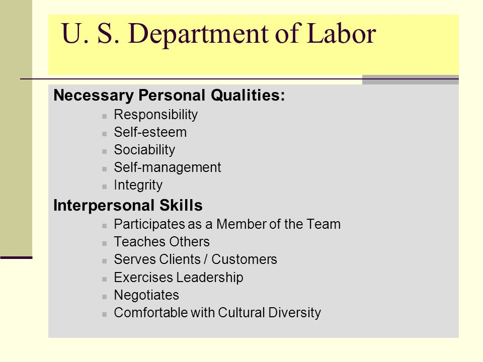 U. S. Department of Labor Necessary Personal Qualities: