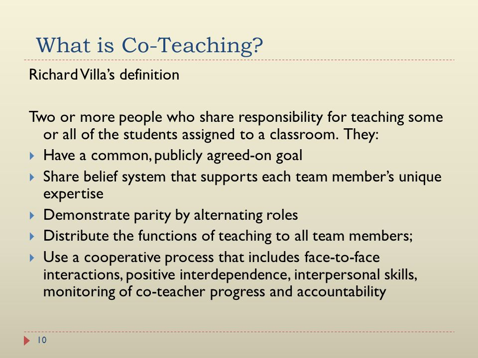 What is Co-Teaching Richard Villa's definition