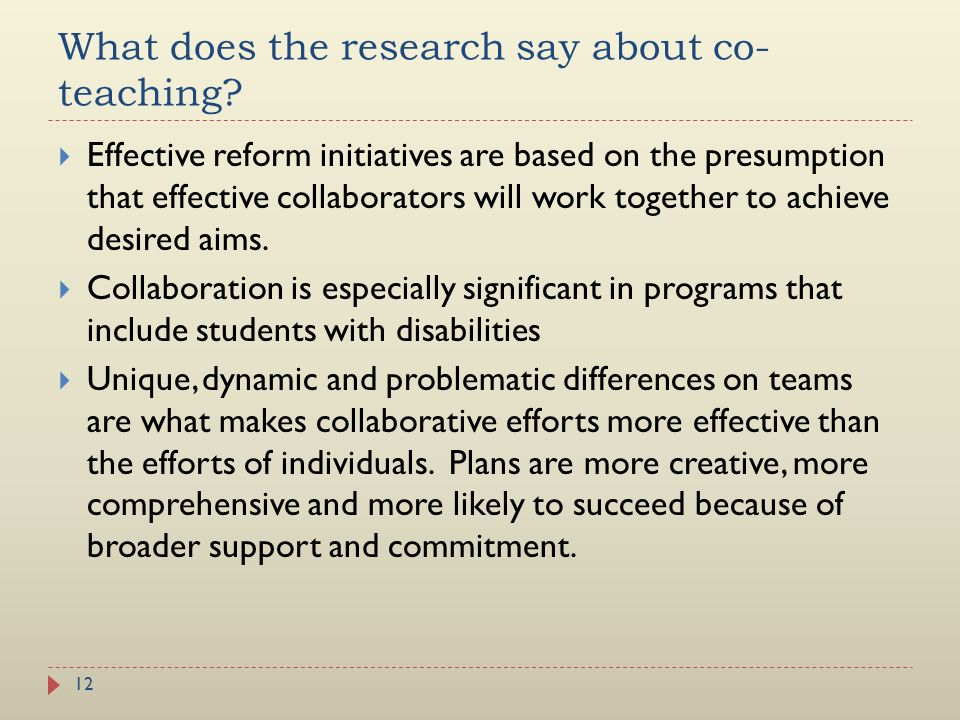 What does the research say about co-teaching