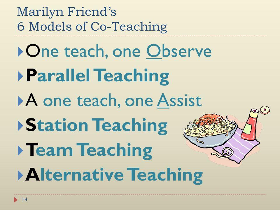 Marilyn Friend's 6 Models of Co-Teaching