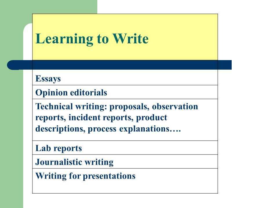 Learning to Write Essays Opinion editorials