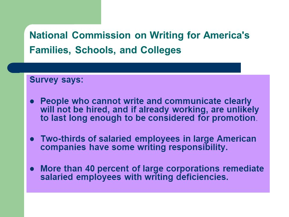 National Commission on Writing for America s Families, Schools, and Colleges