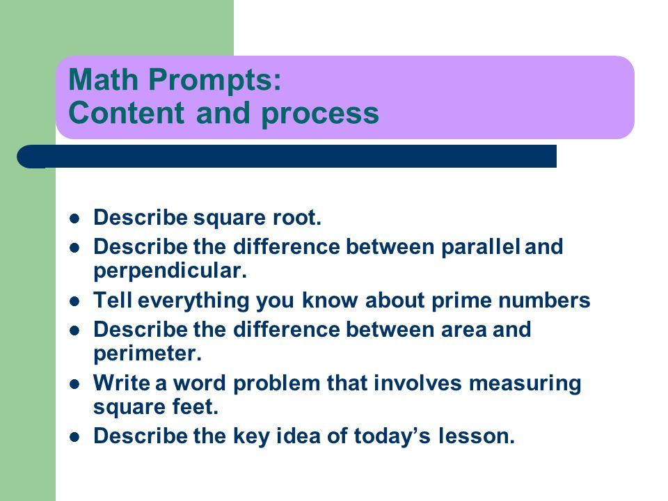 Math Prompts: Content and process