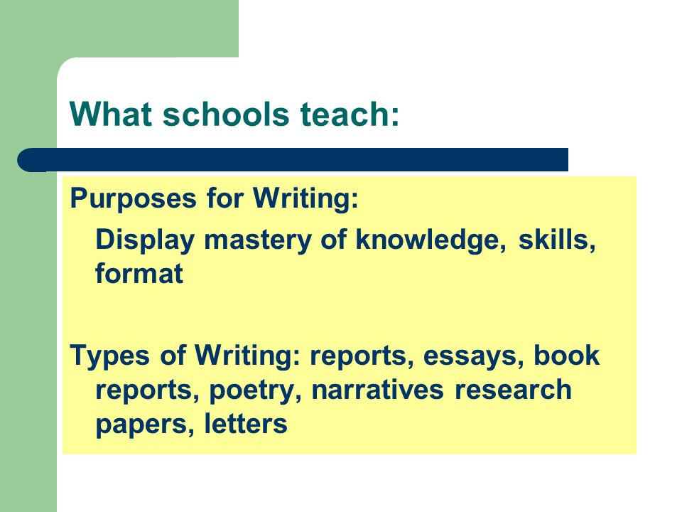 What schools teach: Purposes for Writing: