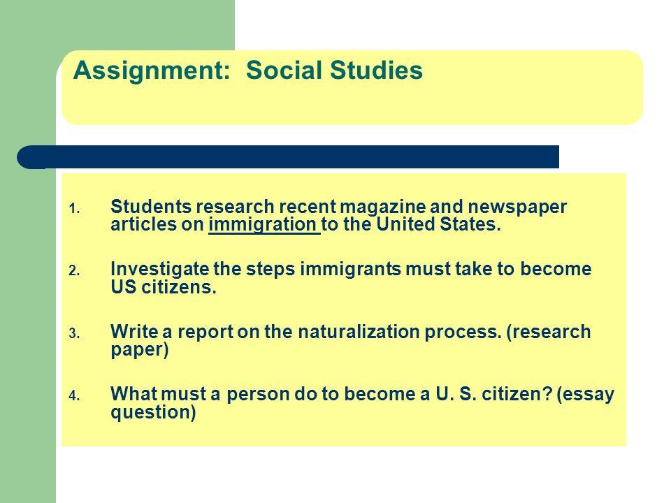 Assignment: Social Studies