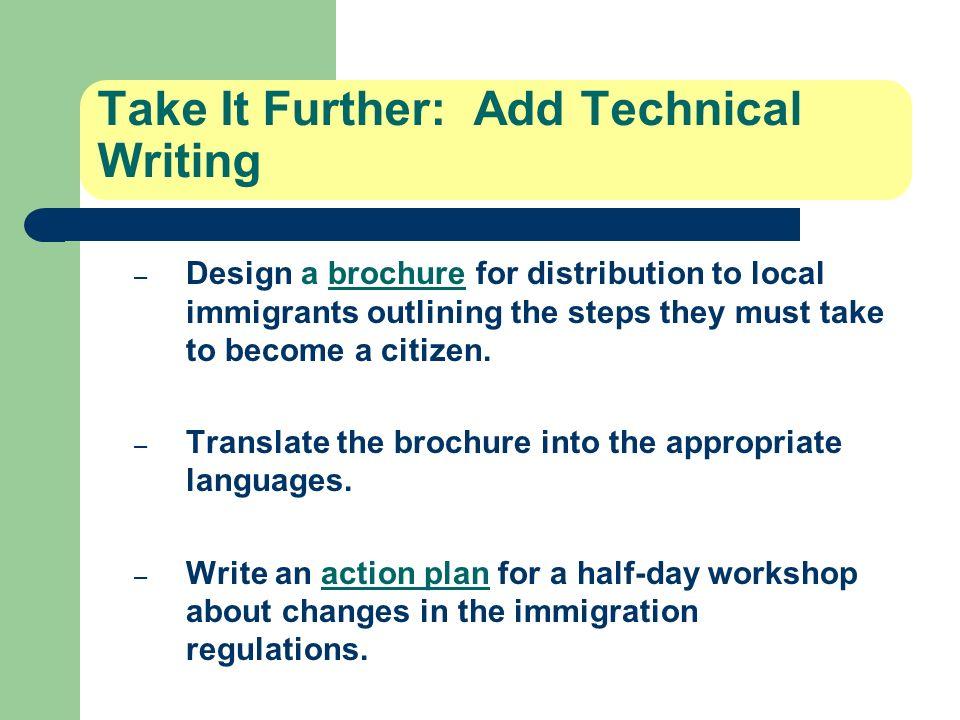 Take It Further: Add Technical Writing