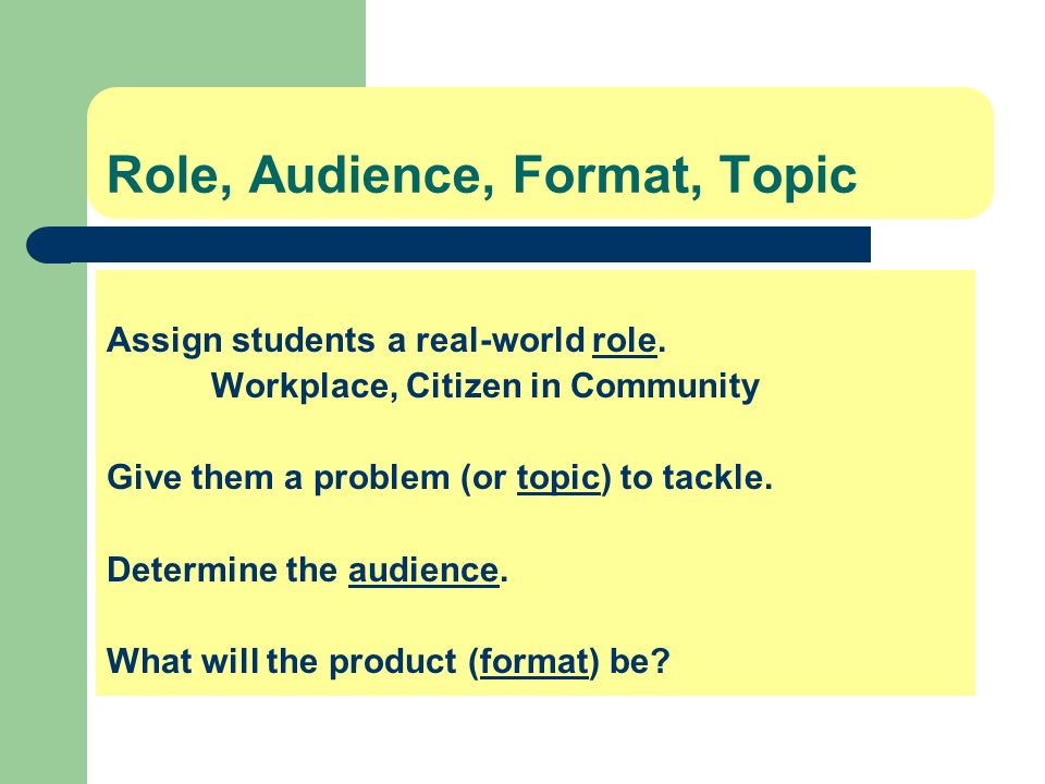 Role, Audience, Format, Topic
