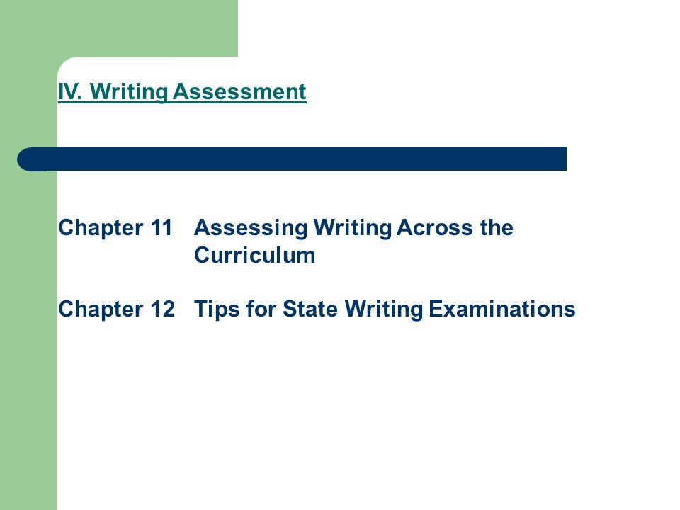 IV. Writing Assessment Chapter 11 Assessing Writing Across the Curriculum.