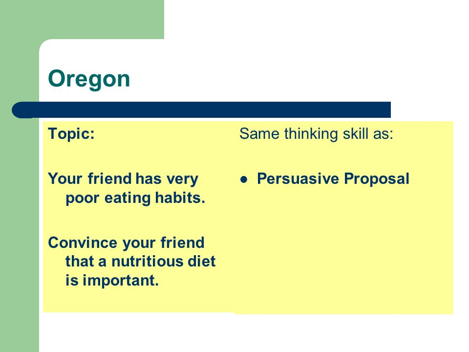 Oregon Topic: Your friend has very poor eating habits.