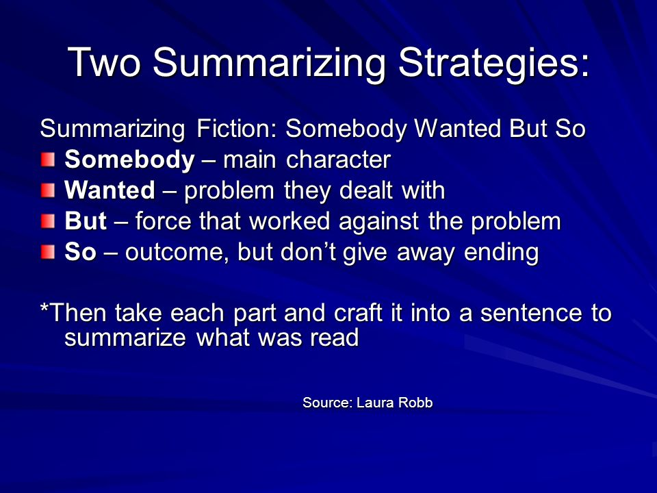 Two Summarizing Strategies: