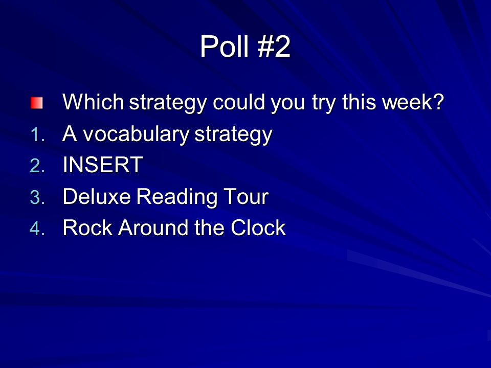 Poll #2 Which strategy could you try this week A vocabulary strategy