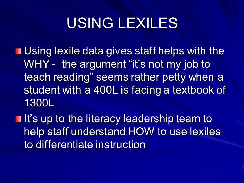 USING LEXILES