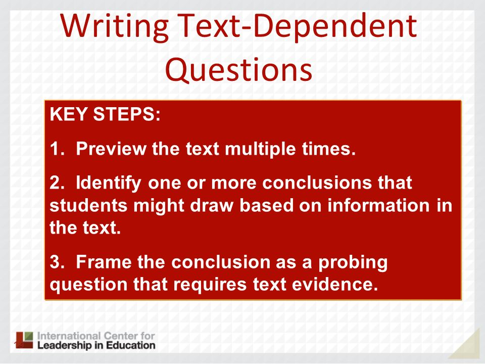 Writing Text-Dependent Questions