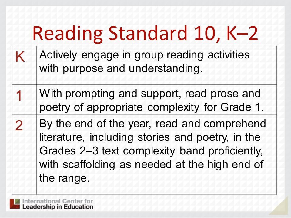 Reading Standard 10, K–2 K. Actively engage in group reading activities with purpose and understanding.