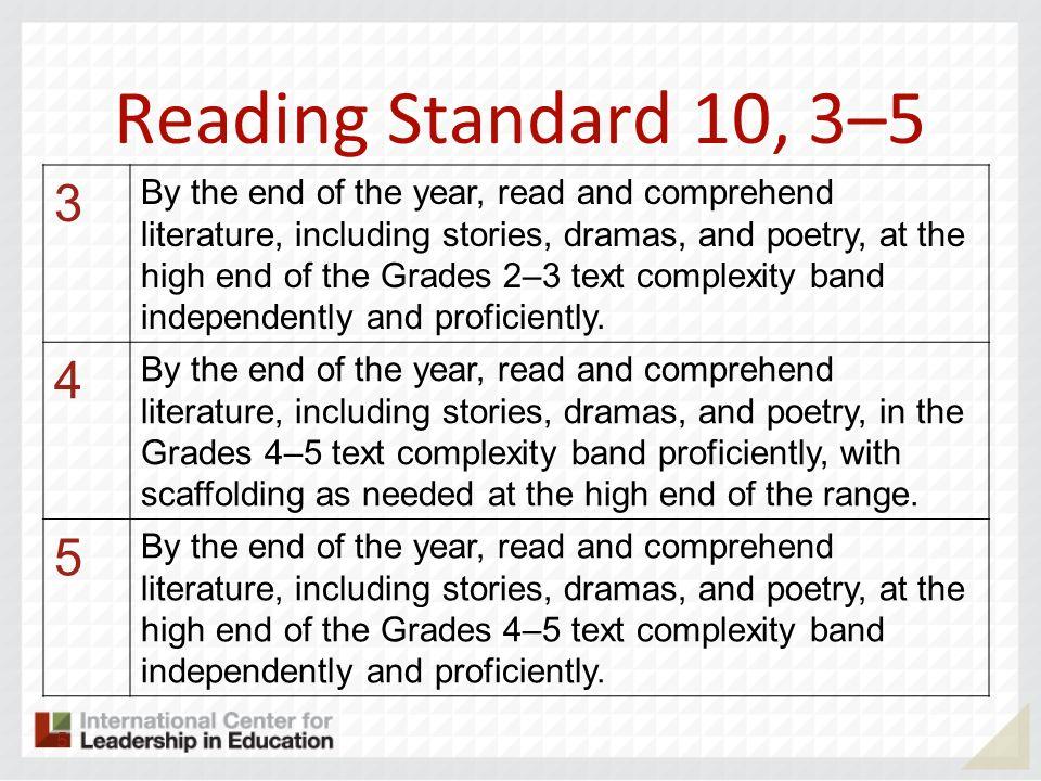 Reading Standard 10, 3–5 3.