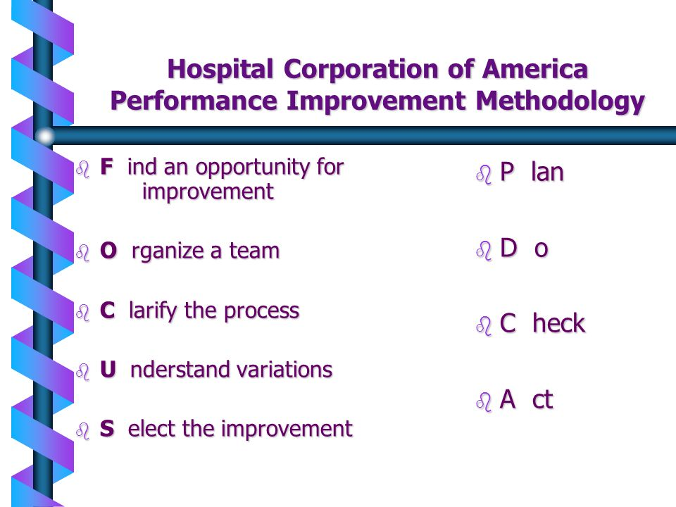 Hospital Corporation of America Performance Improvement Methodology