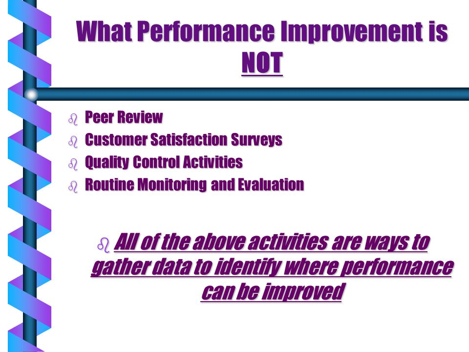 What Performance Improvement is NOT