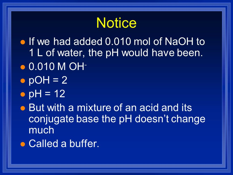 Notice If we had added 0.010 mol of NaOH to 1 L of water, the pH would have been. 0.010 M OH- pOH = 2.