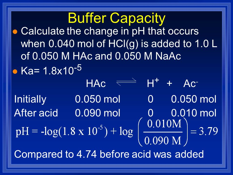 Buffer Capacity Calculate the change in pH that occurs when 0.040 mol of HCl(g) is added to 1.0 L of 0.050 M HAc and 0.050 M NaAc.