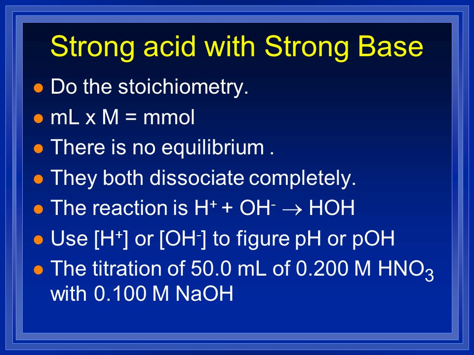 Strong acid with Strong Base