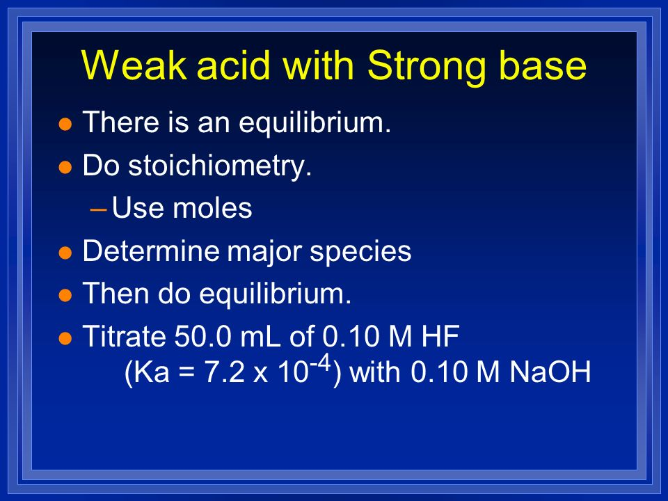 Weak acid with Strong base