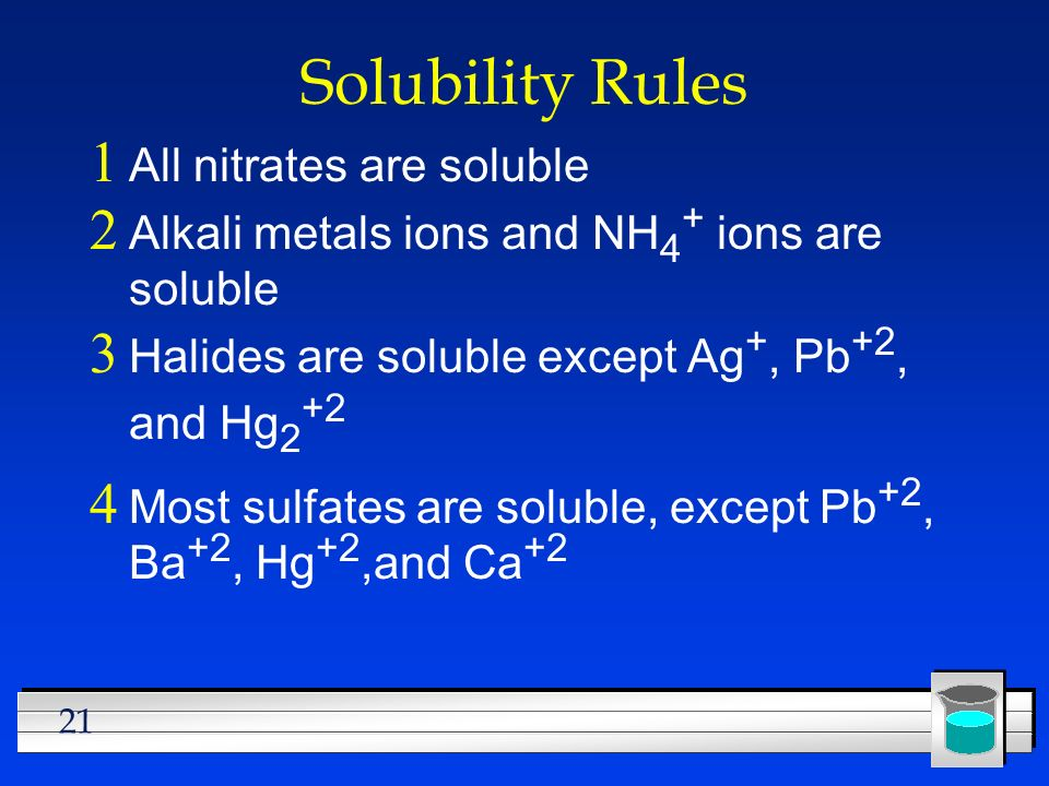 Solubility Rules All nitrates are soluble