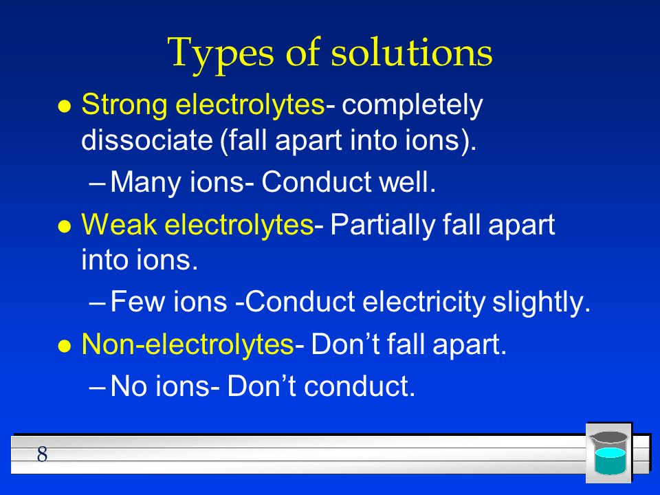 Types of solutions Strong electrolytes- completely dissociate (fall apart into ions). Many ions- Conduct well.