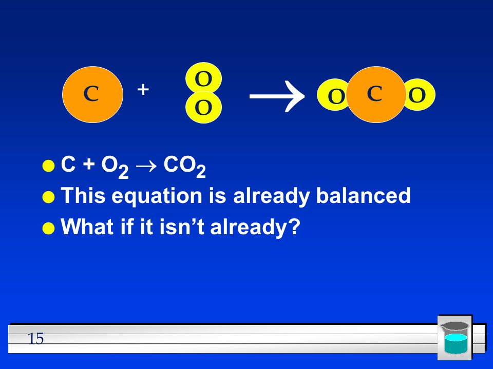 ® O + C O C O O C + O2 ® CO2 This equation is already balanced