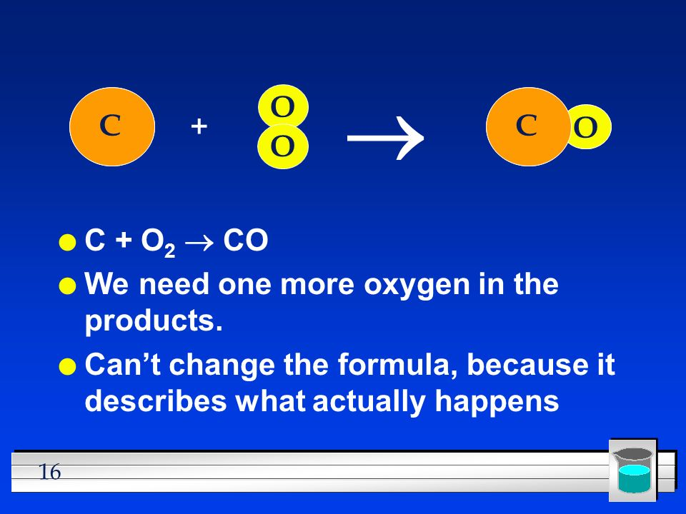 ® C C O O C O C + C + O2 ® CO We need one more oxygen in the products.