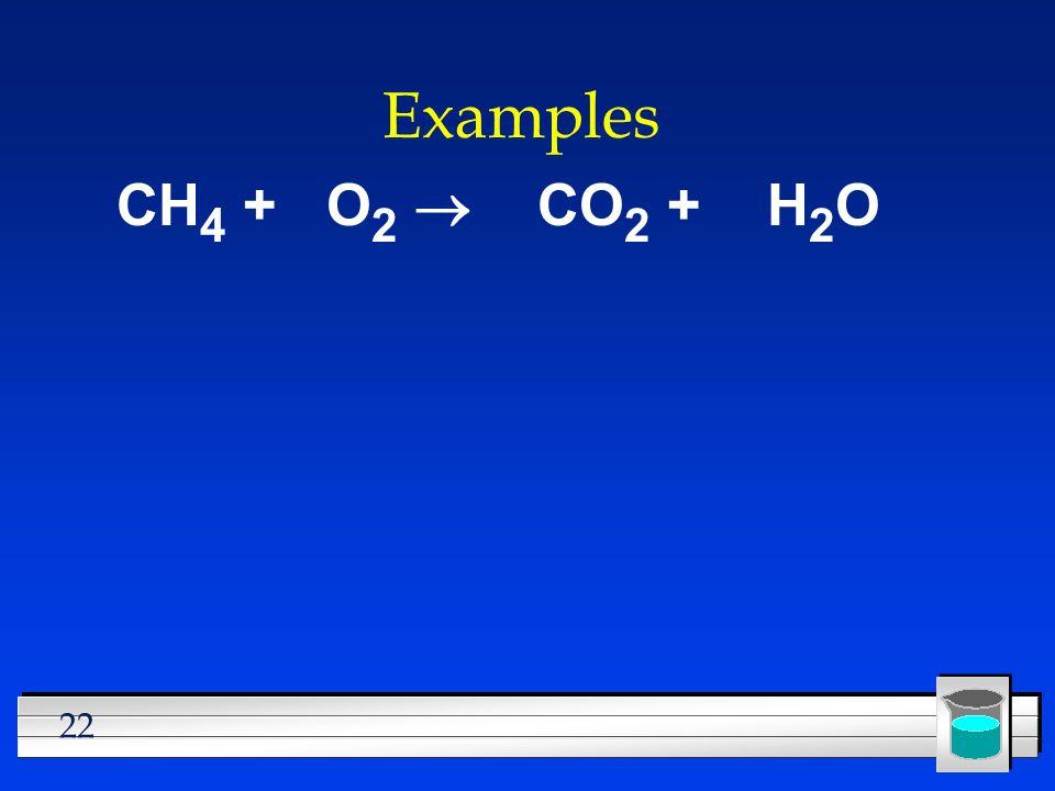 Examples CH4 + O2 ® CO2 + H2O
