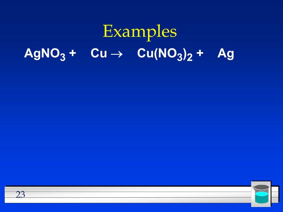 Examples AgNO3 + Cu ® Cu(NO3)2 + Ag
