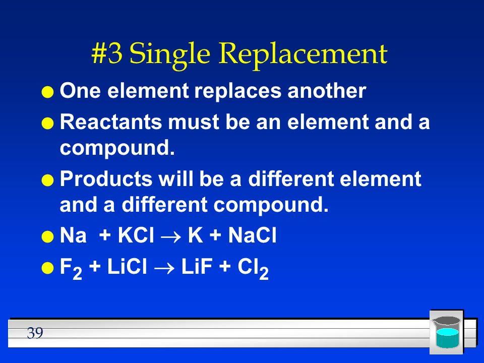 #3 Single Replacement One element replaces another