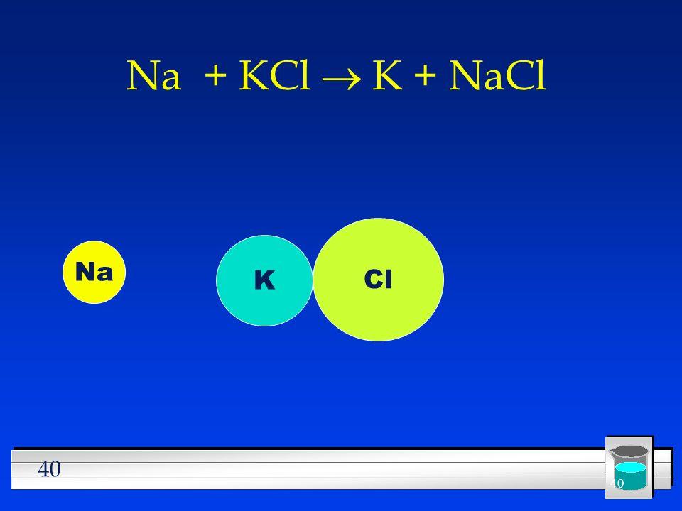 Na + KCl ® K + NaCl Cl K Na