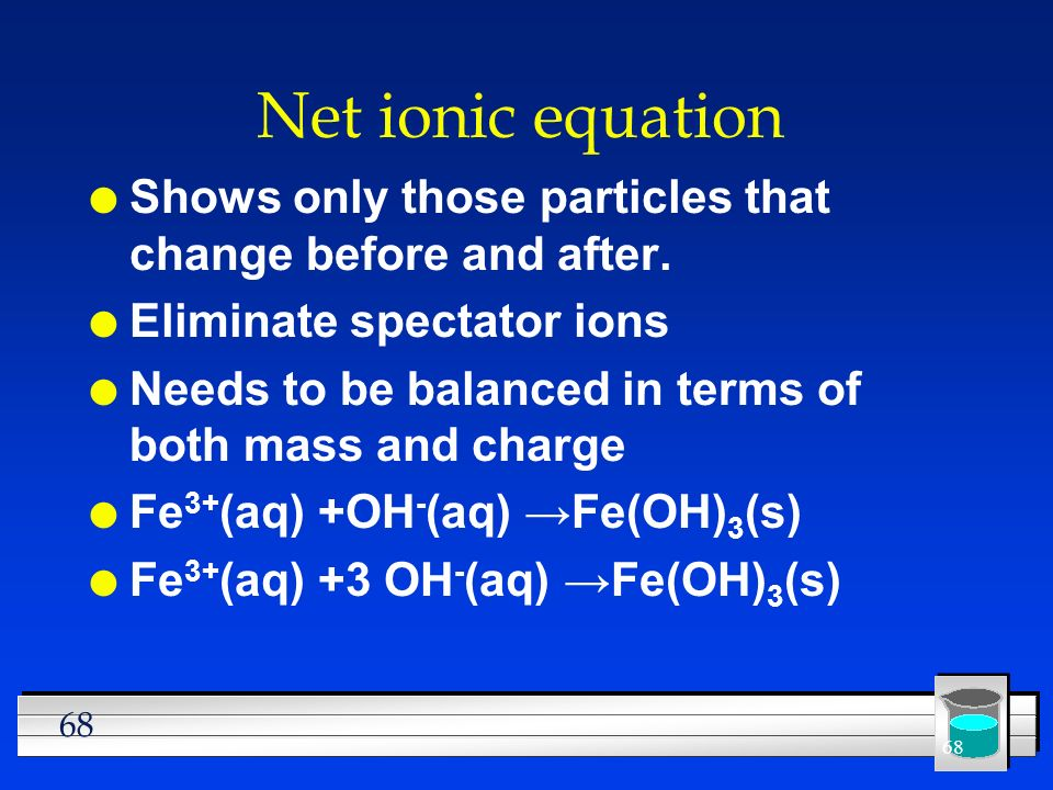 Net ionic equationShows only those particles that change before and after. Eliminate spectator ions.