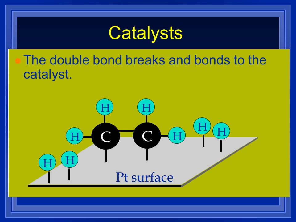 Catalysts C C The double bond breaks and bonds to the catalyst.
