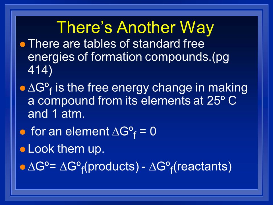 There's Another Way There are tables of standard free energies of formation compounds.(pg 414)