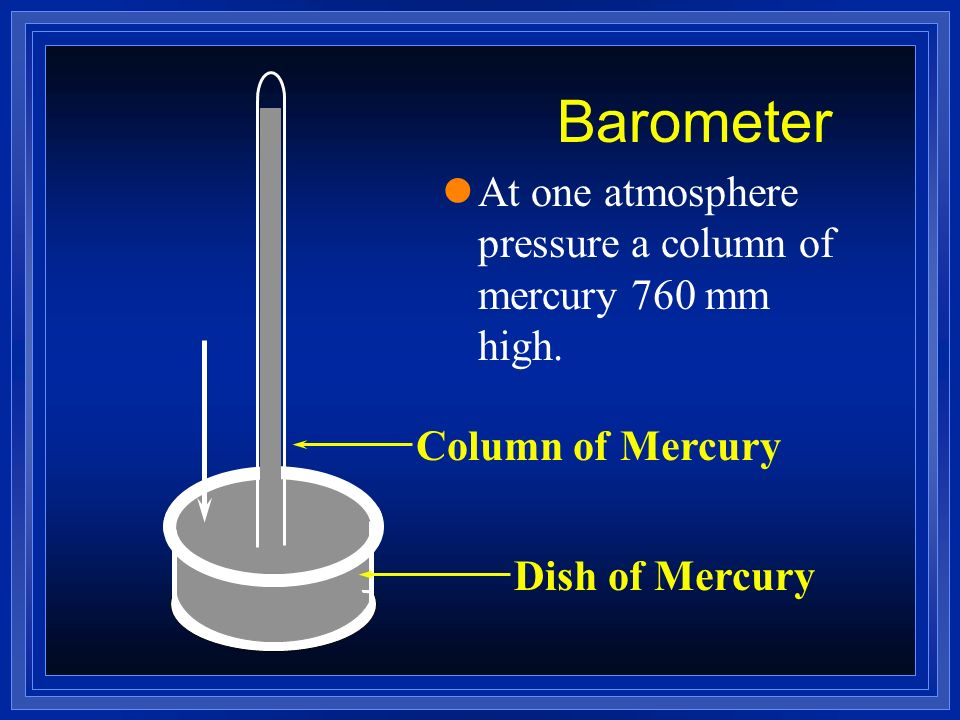 Barometer At one atmosphere pressure a column of mercury 760 mm high.