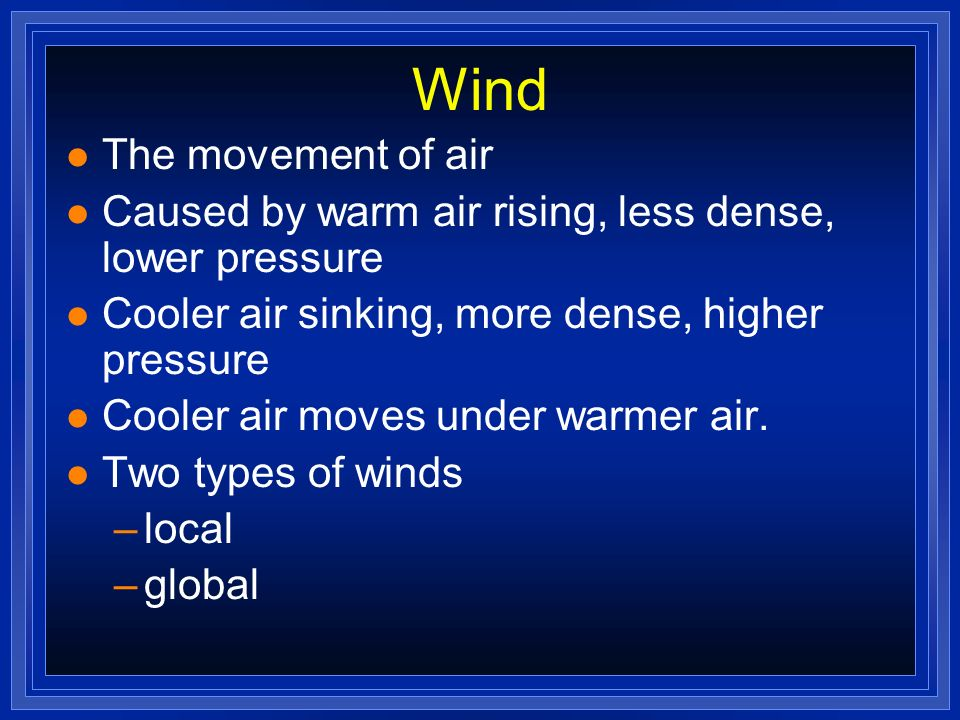 Wind The movement of air