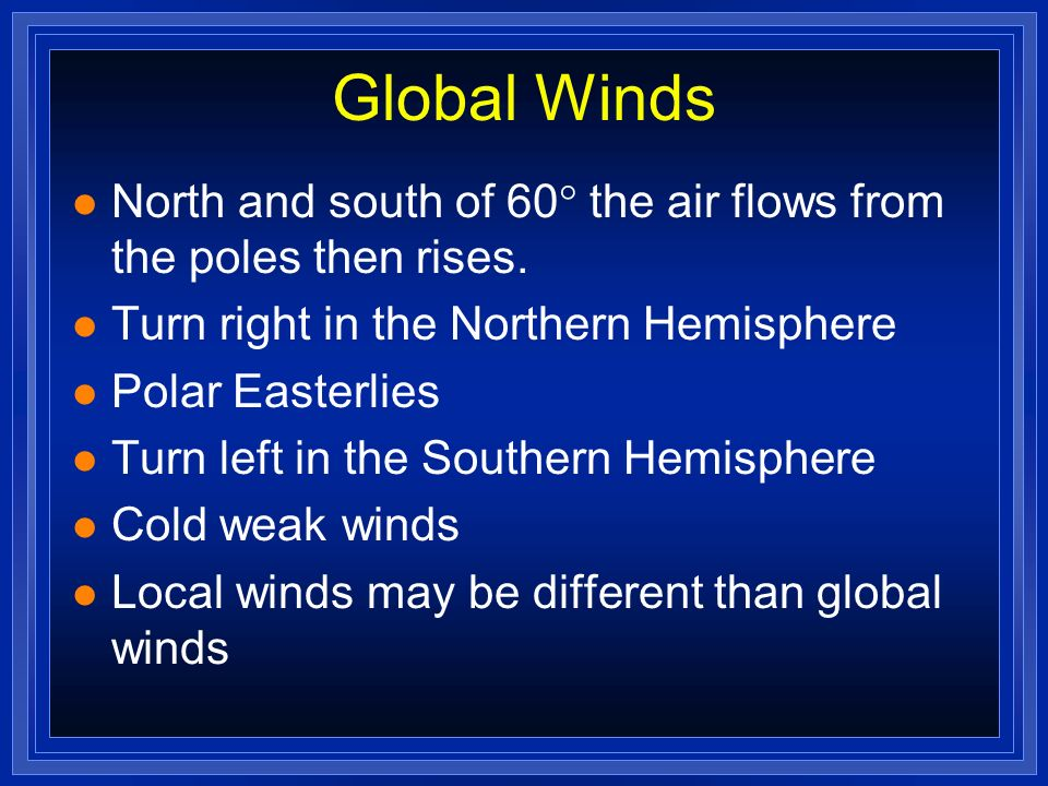 Global Winds North and south of 60 the air flows from the poles then rises. Turn right in the Northern Hemisphere.