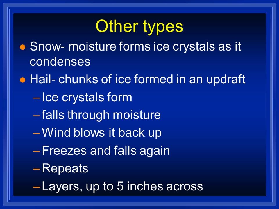 Other types Snow- moisture forms ice crystals as it condenses