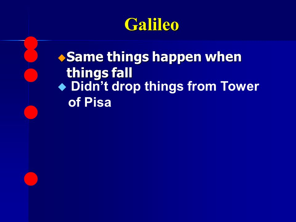 Galileo Same things happen when things fall