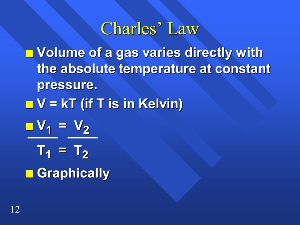 Charles' Law Volume of a gas varies directly with the absolute temperature at constant pressure. V = kT (if T is in Kelvin)